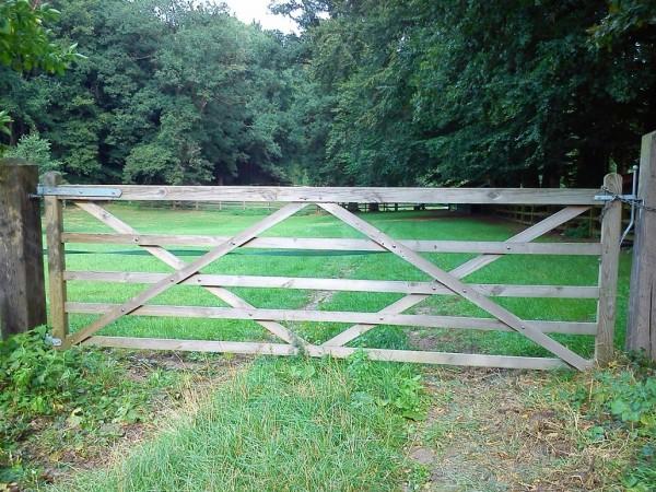 Weidetor 120 cm hoch x 360 cm breit aus Eiche - Hoftor aus Holz